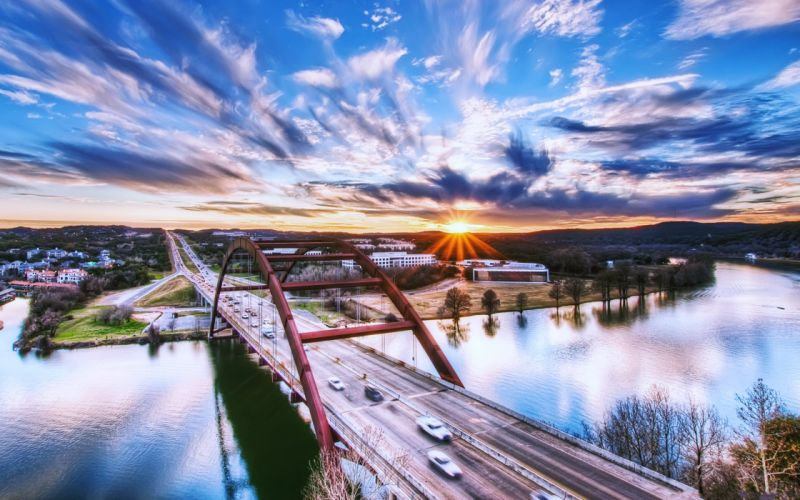 usa texas austin bridge cars rivers sunset sky clouds landscapes city town country nature earth buildings long way path roads wallpaper