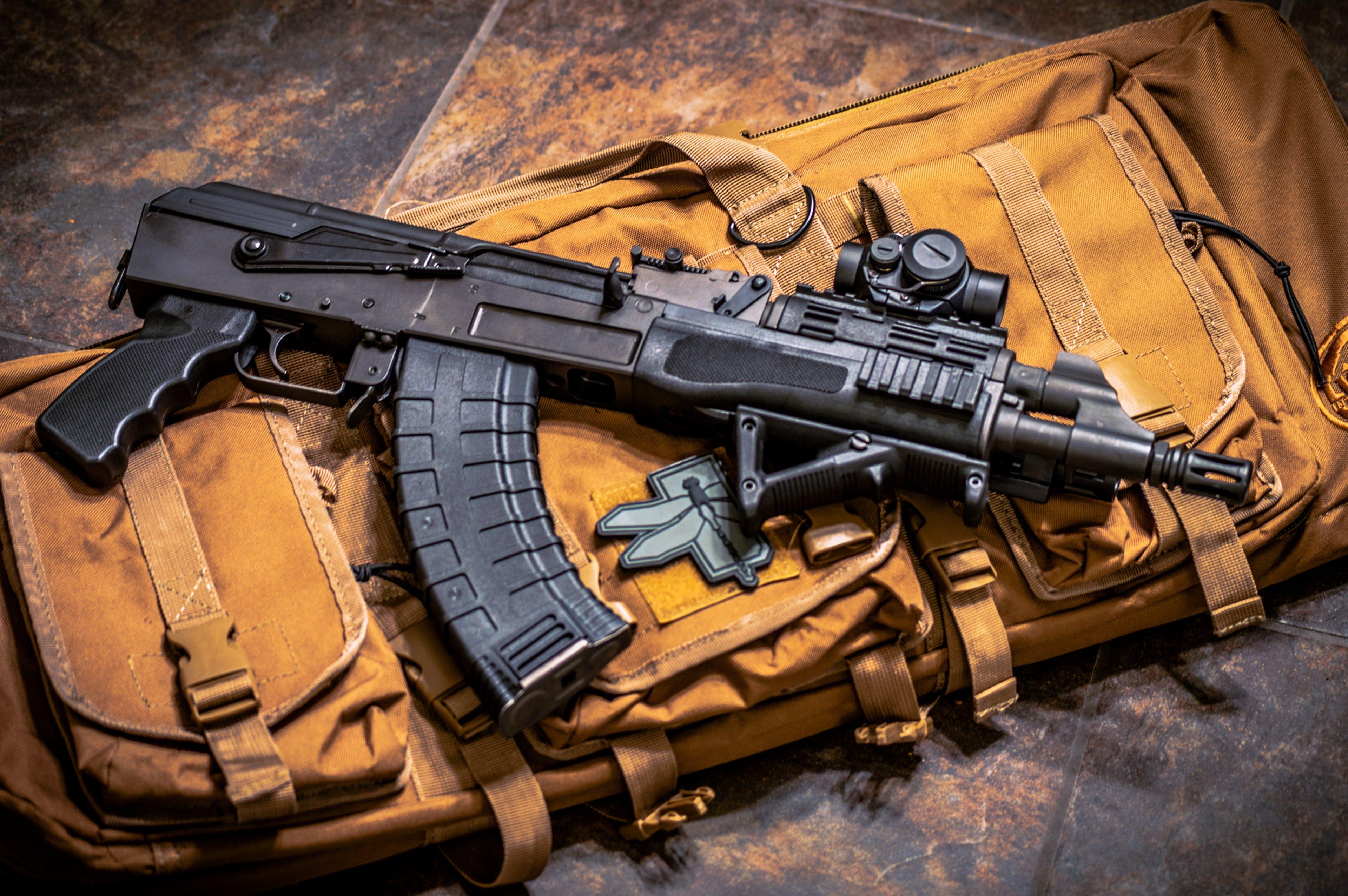 AKS 74U Machine Gun Weapon Wars Army Military Bag Wallpaper