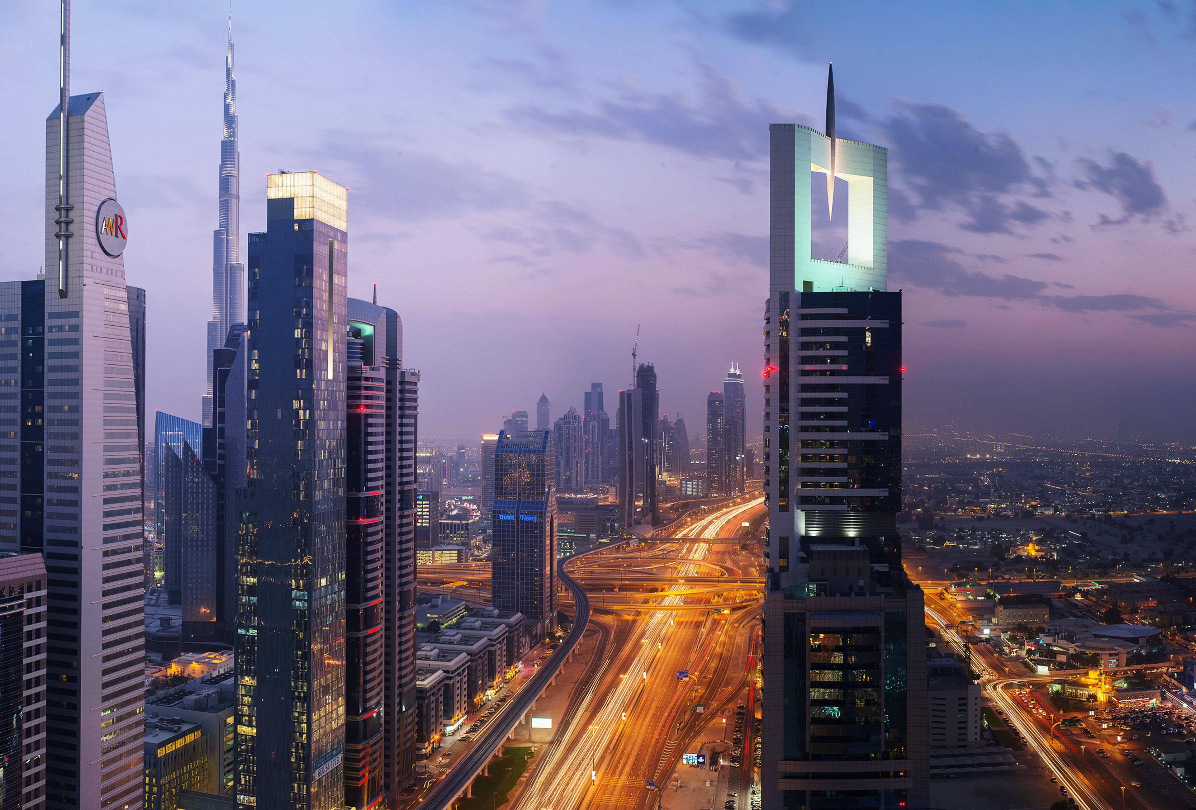 Buildings Burj City Country Development Dubai Evening