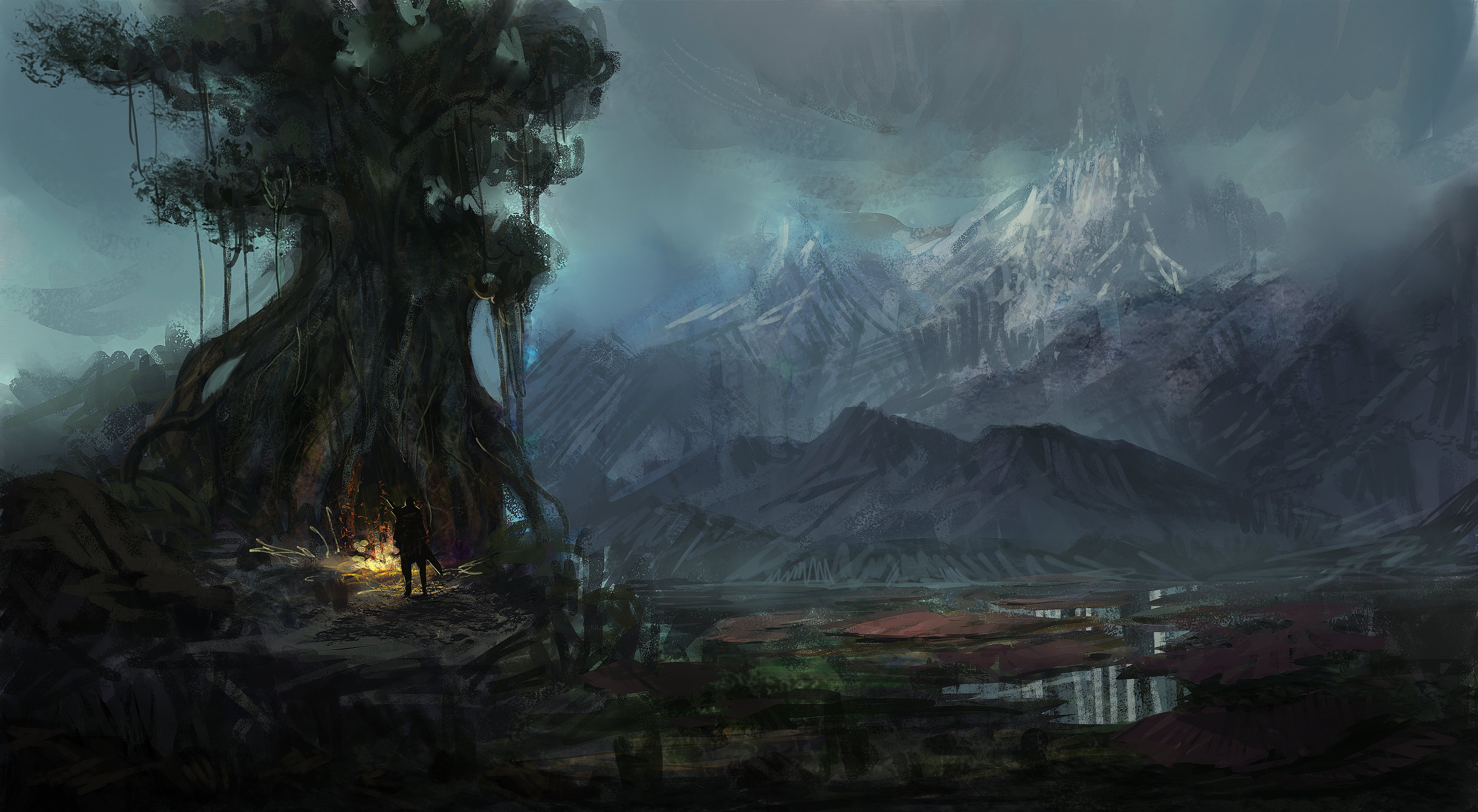 fantasy landscape art artwork nature wallpaper 4641x2550