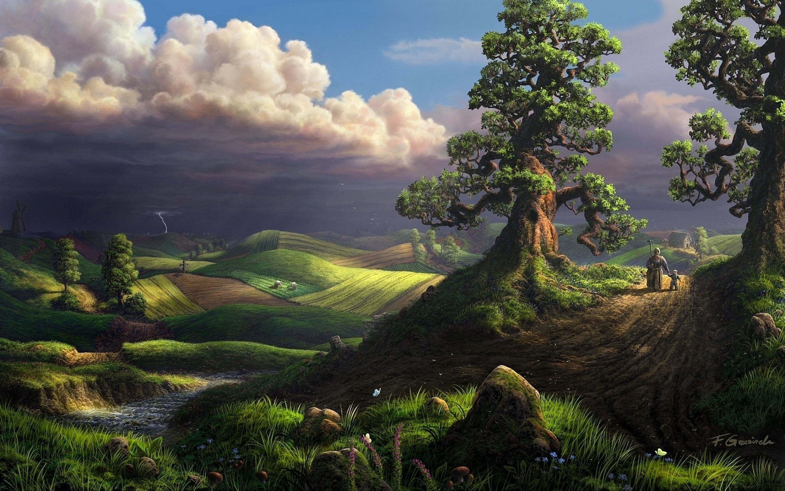 2560x1600 landscape drawing wallpaper - photo #38