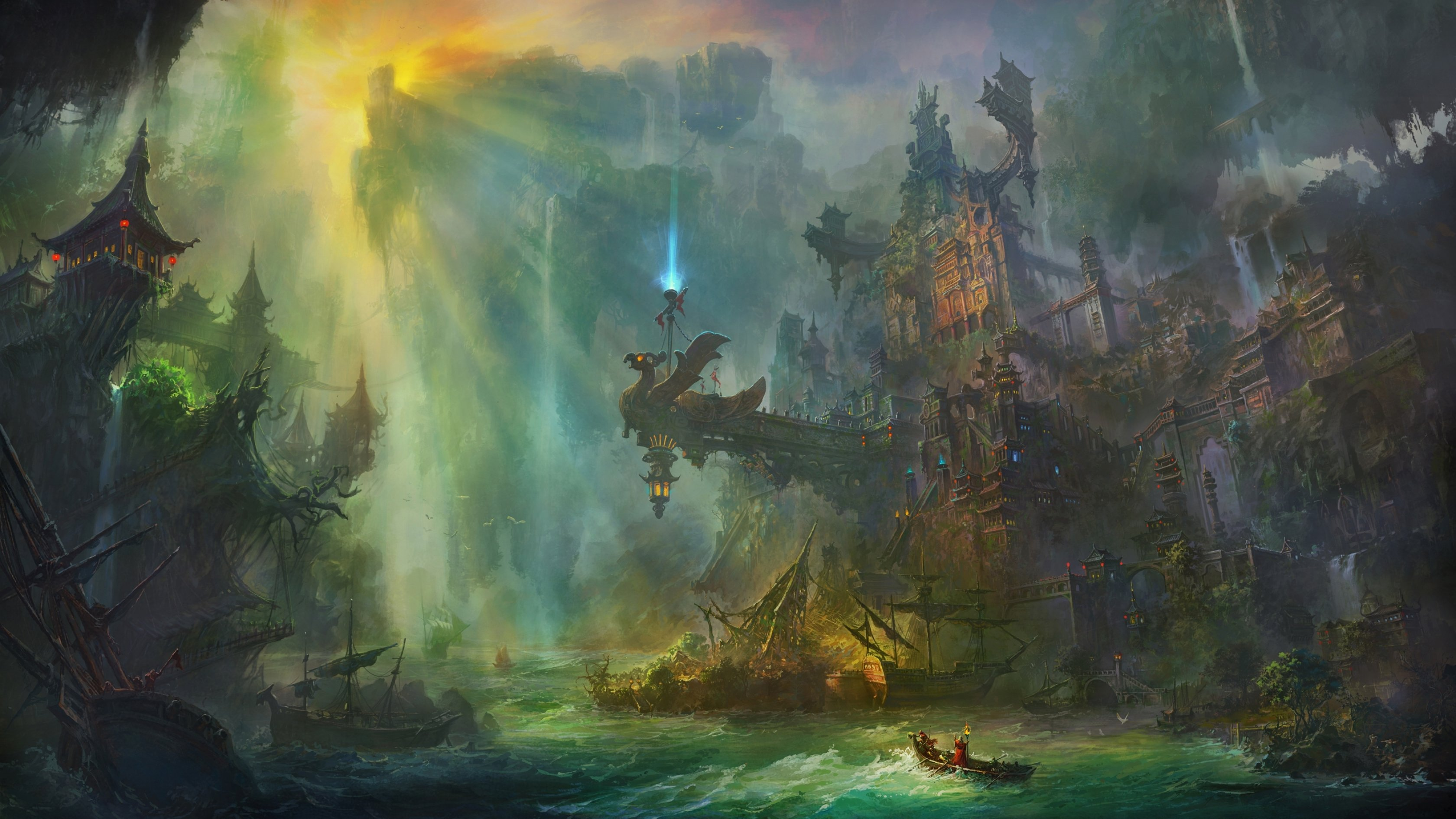 Fantasy landscape art artwork nature wallpaper | 3360x1890 ...