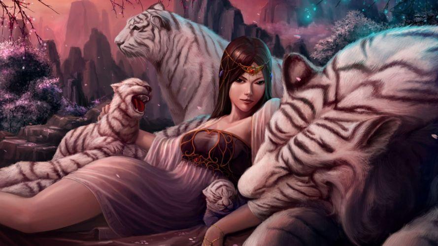 fantasy tiger animal predator art artistic wallpaper