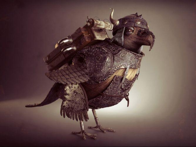 fantasy bird art artistic creature steampunk wallpaper