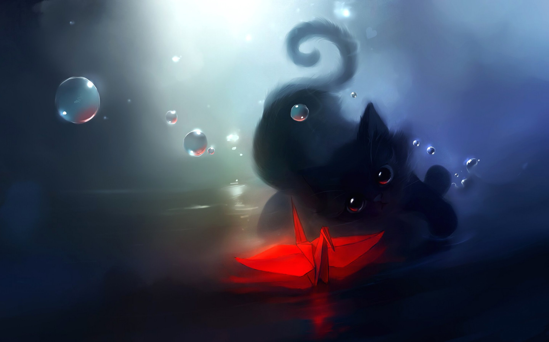 Fantasy cat cats art artwork artistic bubble wallpaper ...