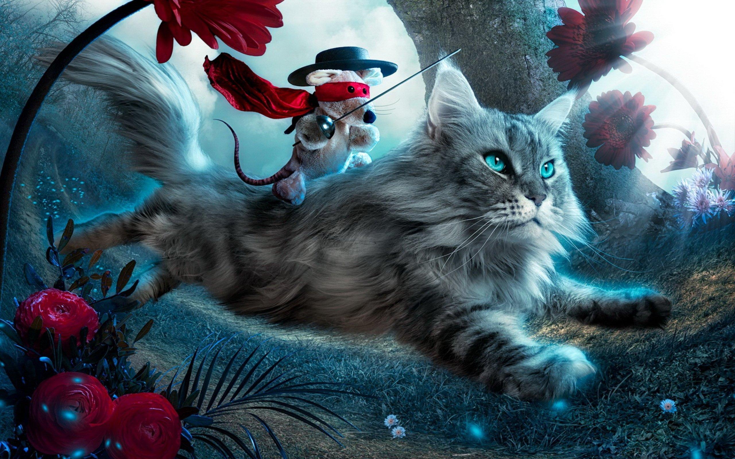 Fantasy cat cats art artwork artistic wallpaper ...
