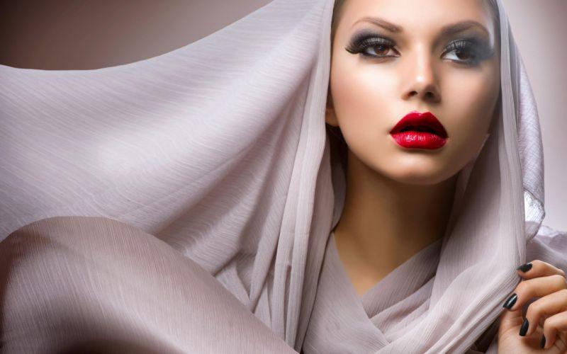 FACE - girl lips veil fashion wallpaper