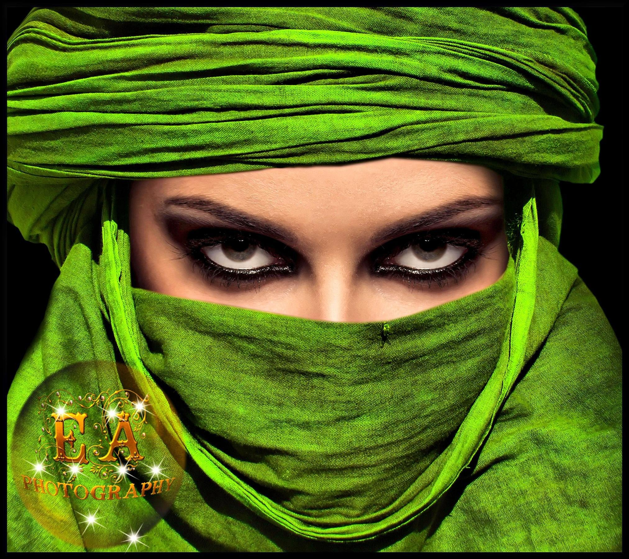 Girl Woman Eyes Look Turban Veil Wallpaper