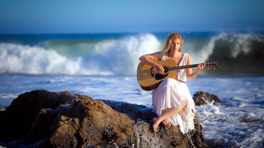 girl guitar music ocean wave rock stone wallpaper