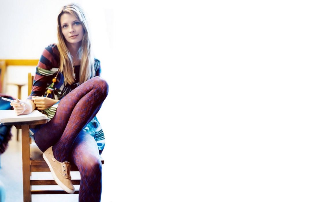 Mischa Barton girl blonde table chair pen legs pantyhose wallpaper