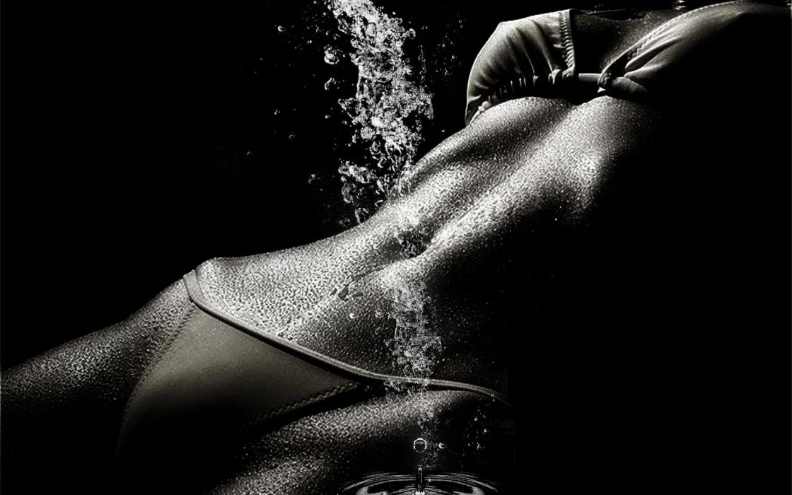 SENSUALITY - black and white belly navel water wallpaper