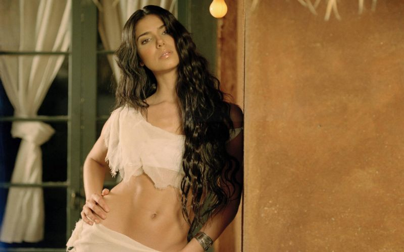 SENSUALITY - Roselyn Sanchez brunette belly navel wallpaper