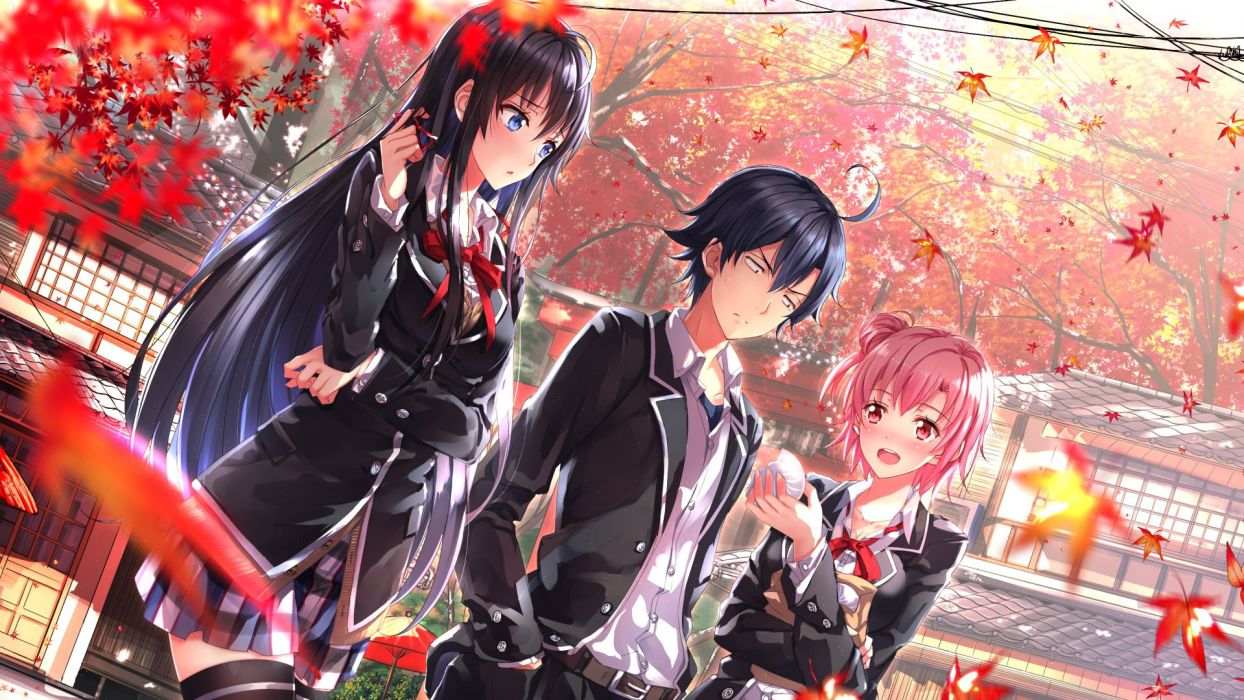 Anime School Girl Boy Autumn Wallpaper