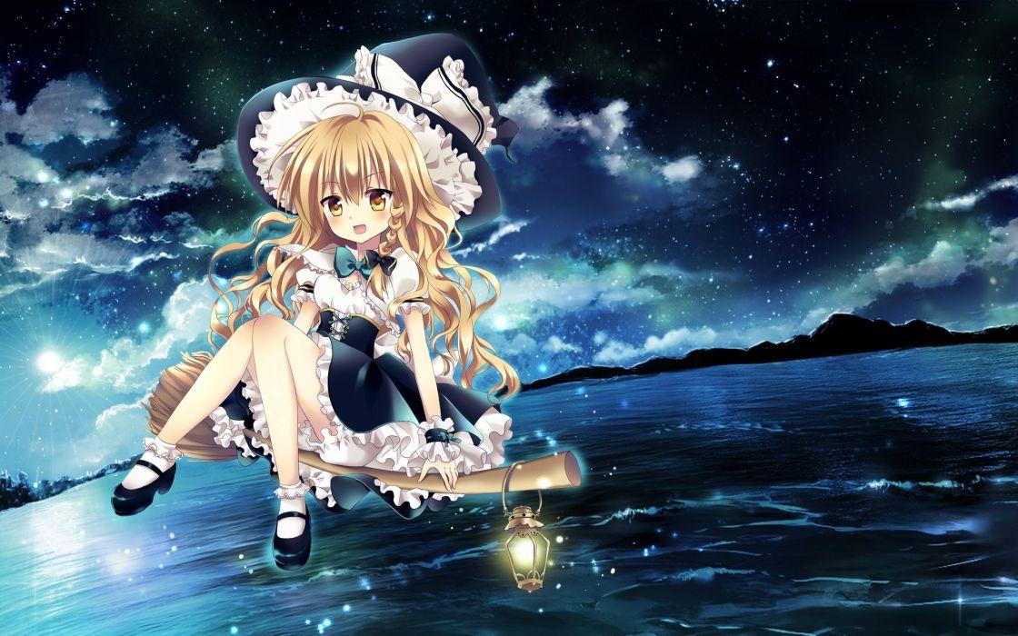 anime girl long hair dress stars wallpaper