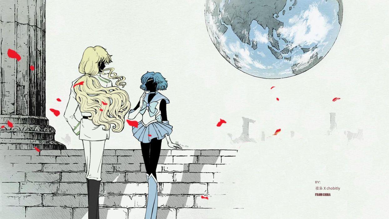 anime series sailor moon couple merkury wallpaper