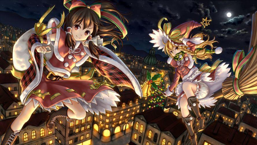 anime girls light city witch wallpaper