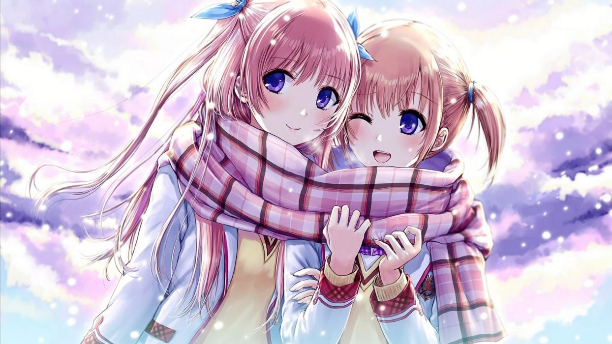 anime girls long hair fiend snow winter wallpaper