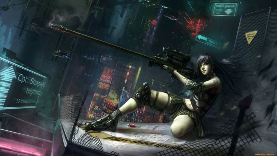 sci-fi warrior women futuristic art artwork girl wallpaper