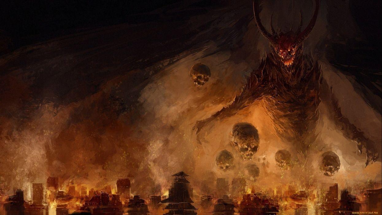 dark demon fantasy evil art artwork wallpaper