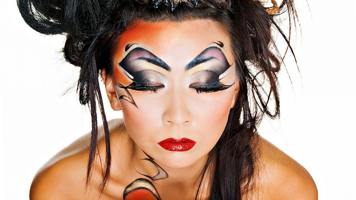 FACE - girl brunette makeup fashion wallpaper