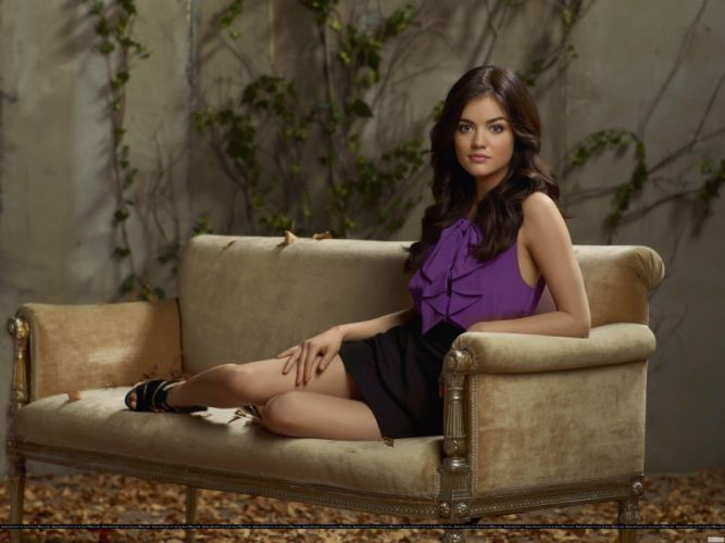 Lucy Hale girl brunette legs couch wallpaper