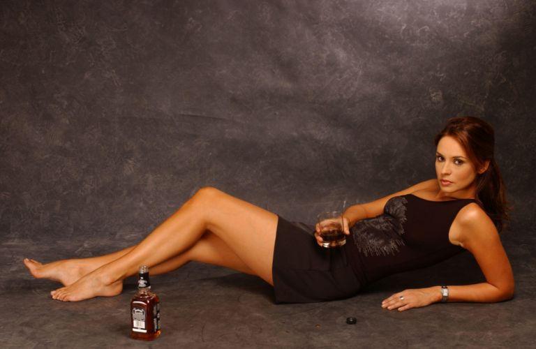 SENSUALITY - Andreea Marin girl brunette lying legs drink wallpaper