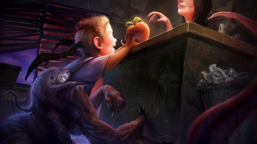 dark creepy scary horror evil art artistic artwork h wallpaper