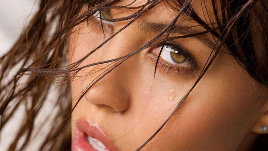 FACE - girl brunette eyes tear wallpaper