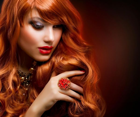 FACE - girl redhead lips stylish necklace ring wallpaper