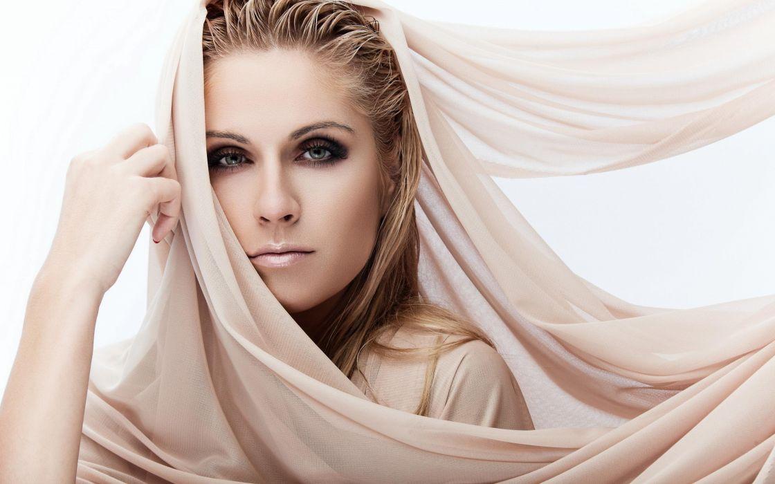 FACE - girl woman eyes shawl wallpaper