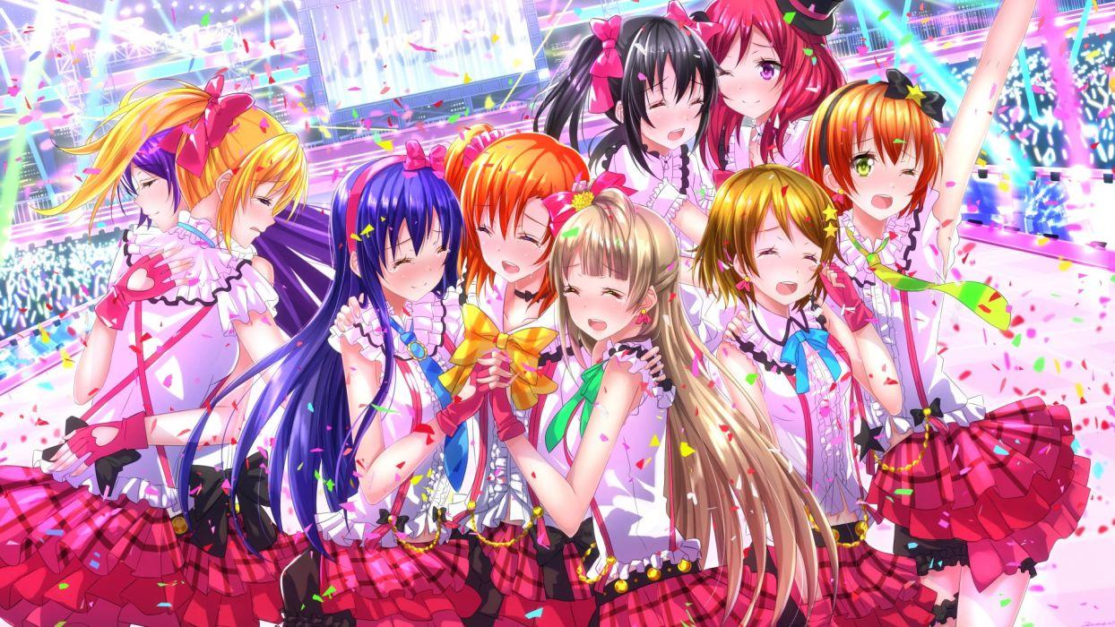 Long hair dress beautiful girl characters anime series group