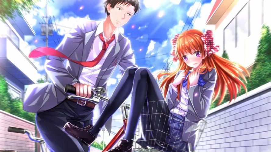 long hair couple beautiful girl characters anime wallpaper