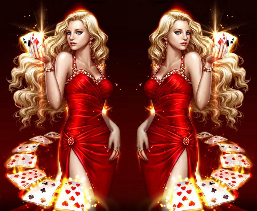 long hair dress beautiful girl fantasy red dress wallpaper
