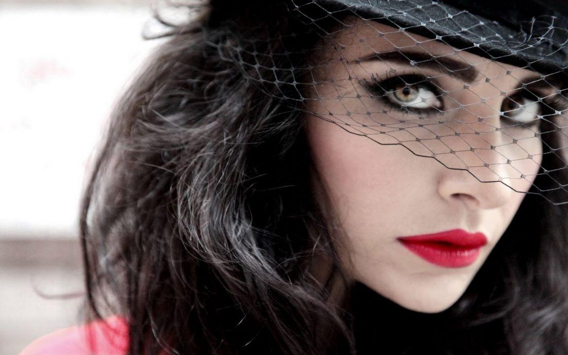 beautiful Turkish singer Girl Dress face music red lip long hair wallpaper