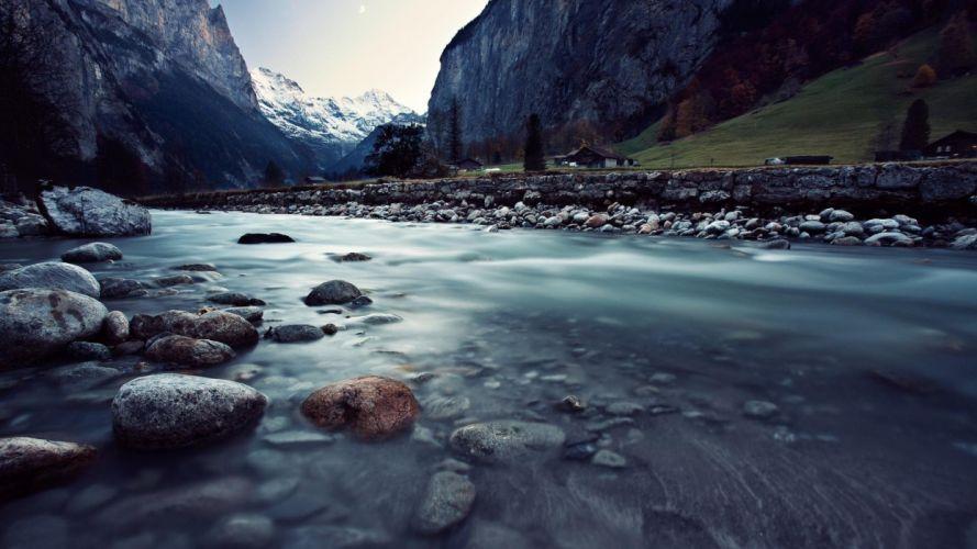 The Lauterbrunne Switzerland river wallpaper