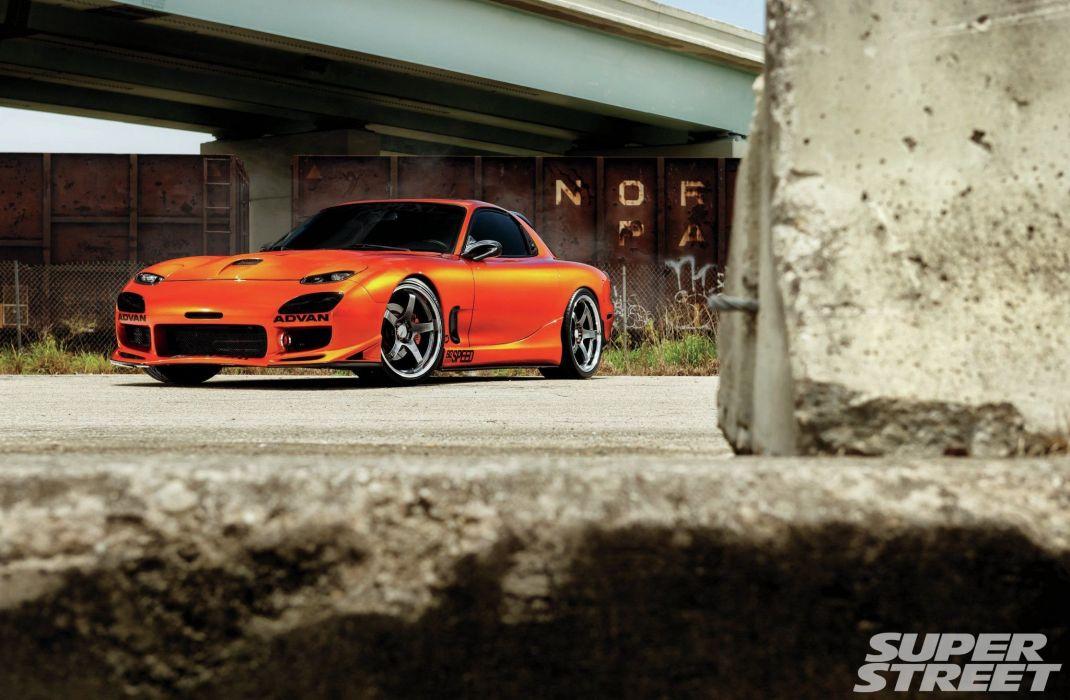 1994 Mazda RX-7 coupe cars modified orange wallpaper