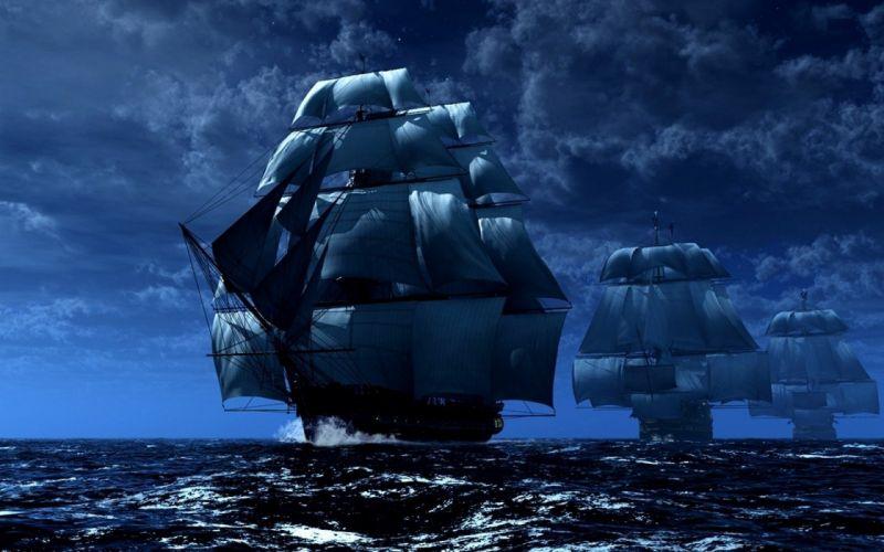 fantasy ship boat art artwork ocean sea wallpaper