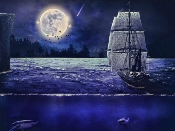 fantasy ship boat art artwork ocean sea wallpaper