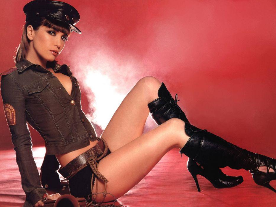 SENSUALITY - police girl brunette uniform boots wallpaper