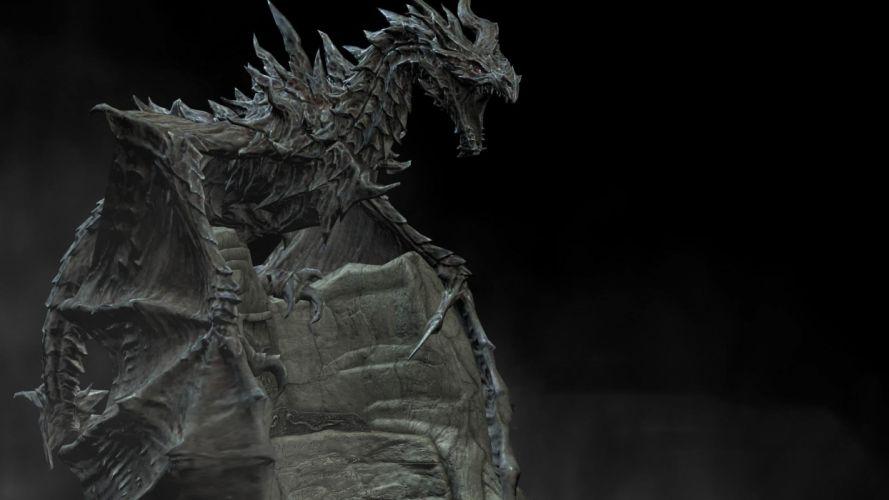 statue stone dragon wallpaper