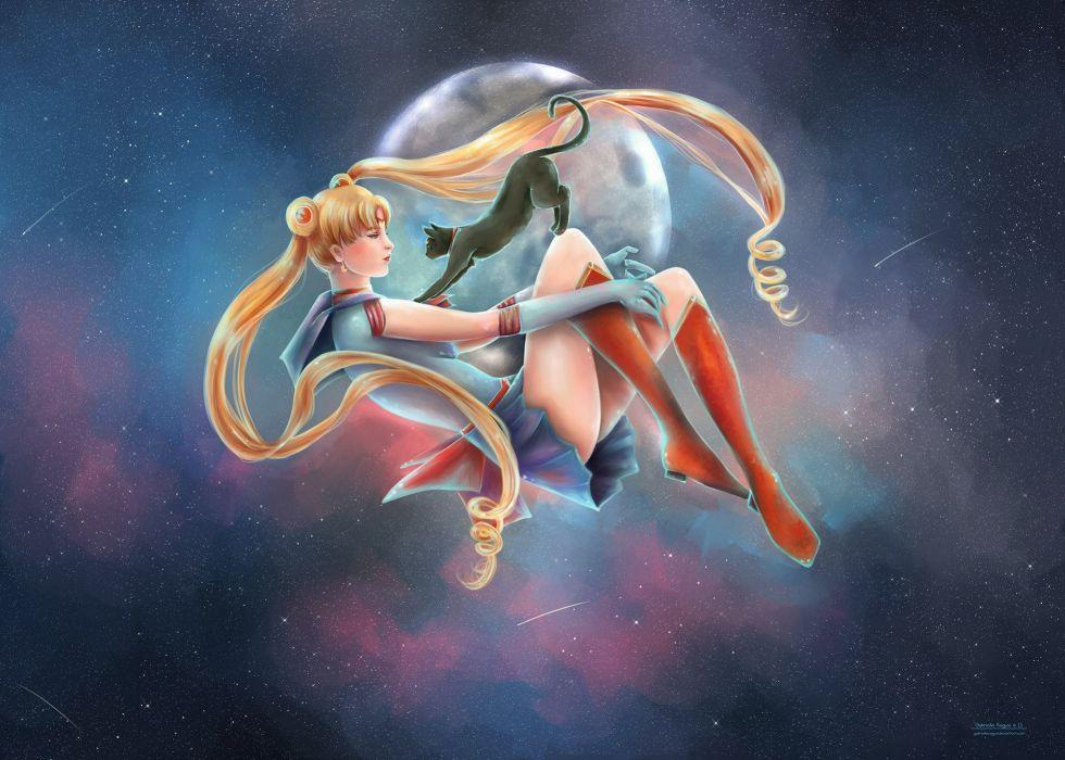 bishoujo+senshi+sailor+moon-toei+animation-tsukino+usagi-sailor+moon-luna+(sailor+moon)-blue+eyes wallpaper