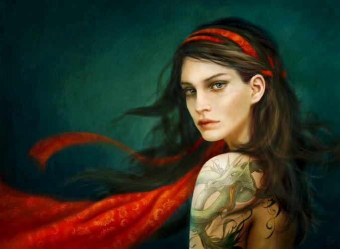 girl art red tattoo long hair wallpaper