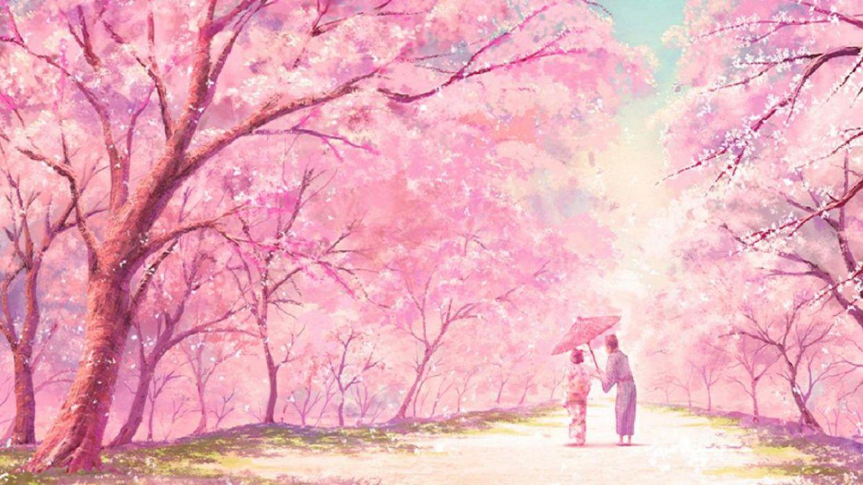 anime pink tree couple kimono wallpaper