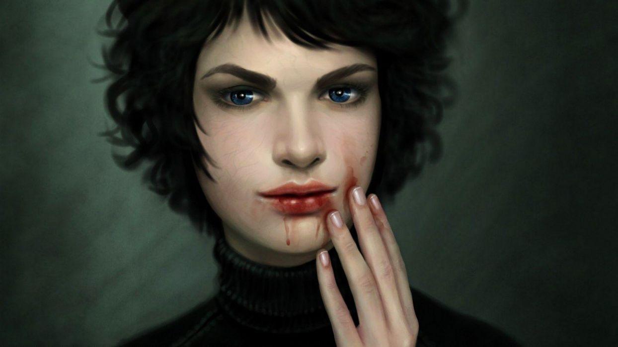 short blood face hair girl fantasy dress beautiful wallpaper