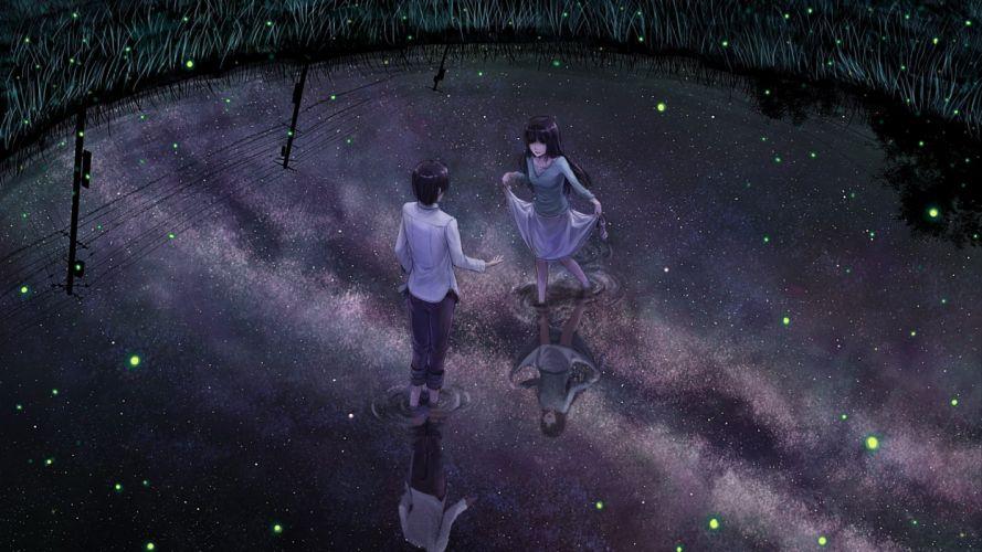long hair girl fantasy dress beautiful anime stars couple wallpaper