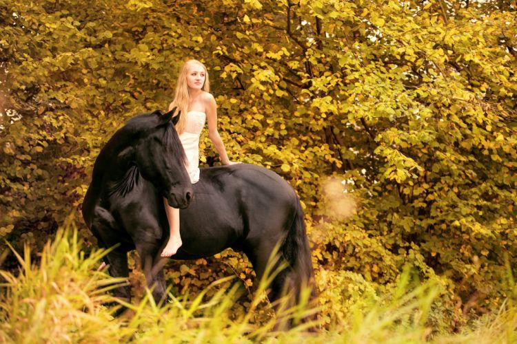 long hair girl fantasy dress beautiful horse animal sea wallpaper