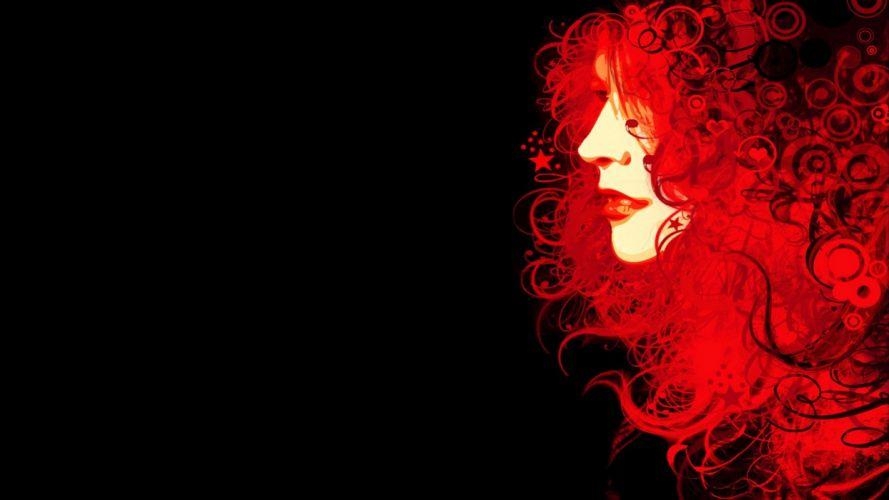 red girl hair background wallpaper