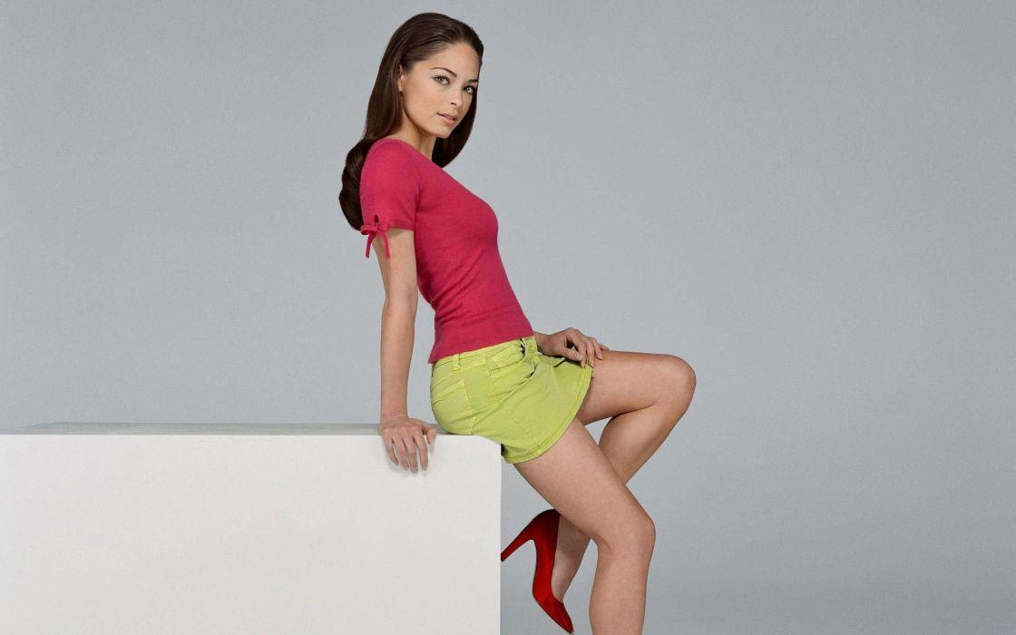 Kristin Kreuk girl brunette charming tenderness shirt skirt legs wallpaper