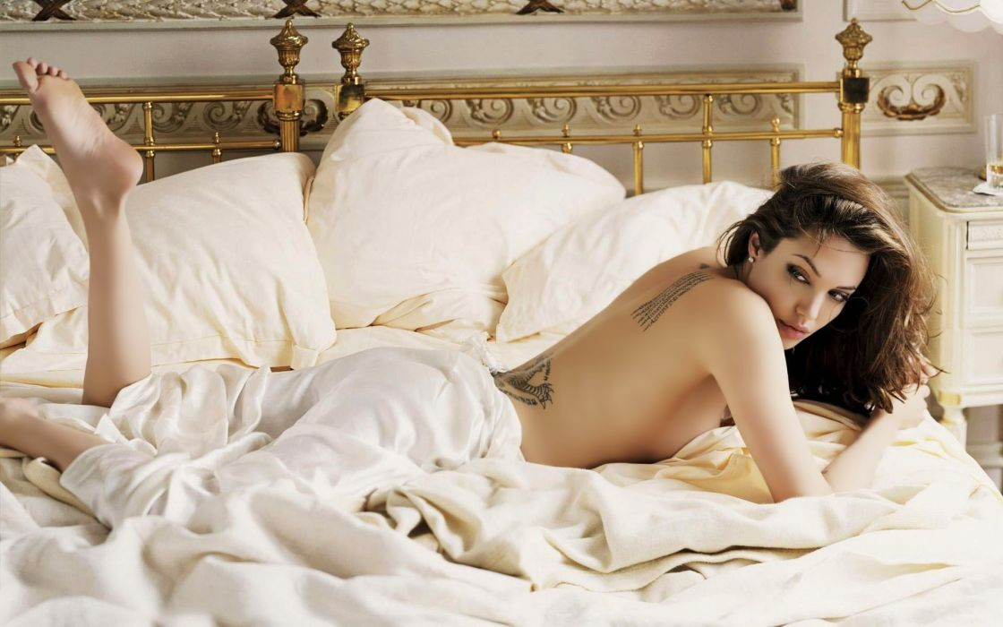 SENSUALITY - Angelina Jolie girl brunette legs back tattoo bed pillows wallpaper