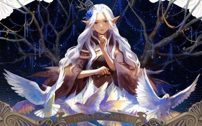 animal bird gray eyes kirayoci long hair pixiv fantasia pointed ears stars tree white hair wallpaper